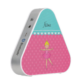 Personalized name ballerina pink polka dots bluetooth speaker