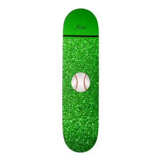 Personalized name baseball lime green glitter skate board