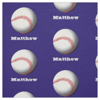 Personalized Name Baseball Pattern Fabric