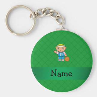 Personalized name basketball player green criss basic round button key ring