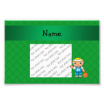 Personalized name basketball player green criss photo art