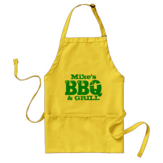 Personalized name BBQ apron for men | Yellow green