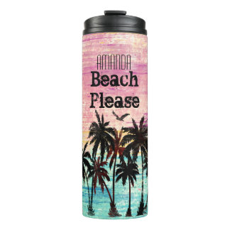 Personalized name beach please thermal tumbler
