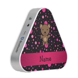 Personalized name bear black pink polka dots speaker