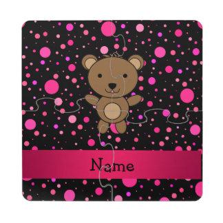 Personalized name bear black pink polka dots puzzle coaster
