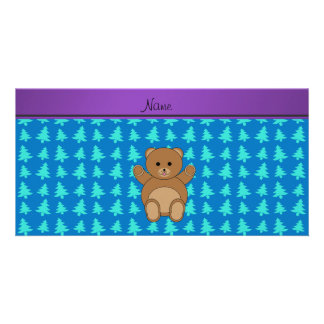 Personalized name bear blue christmas trees photo cards