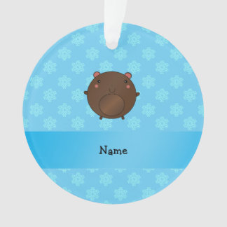 Personalized name bear blue snowflakes