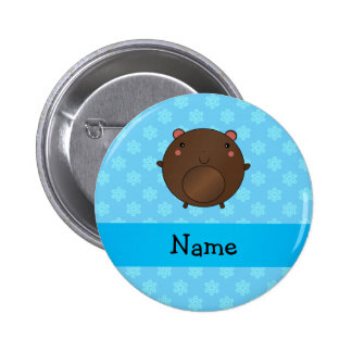 Personalized name bear blue snowflakes buttons