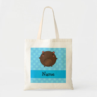 Personalized name bear blue snowflakes canvas bags