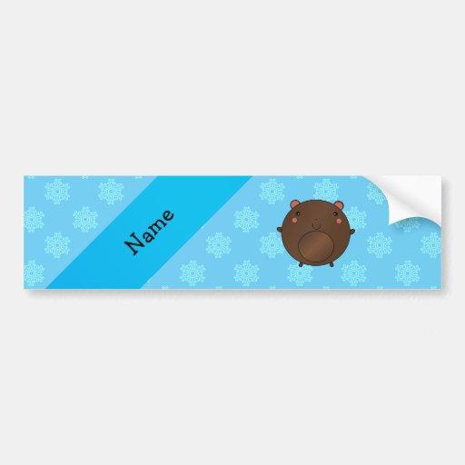 Personalized name bear blue snowflakes bumper sticker