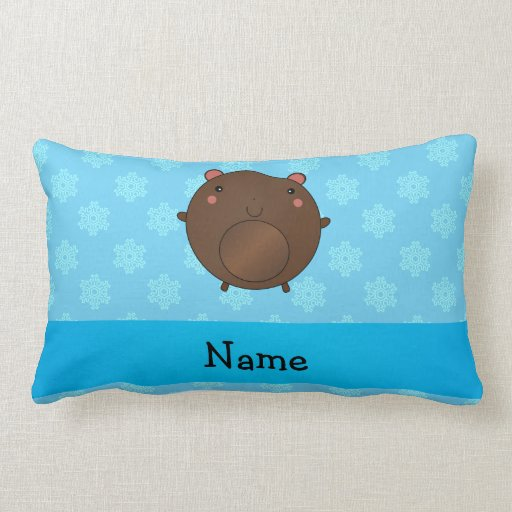 Personalized name bear blue snowflakes throw pillows
