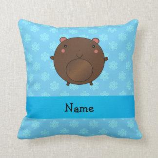 Personalized name bear blue snowflakes pillows