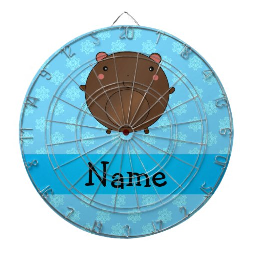 Personalized name bear blue snowflakes dart boards