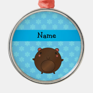 Personalized name bear blue snowflakes christmas ornaments