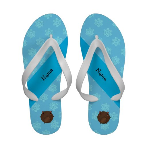 Personalized name bear blue snowflakes flip flops