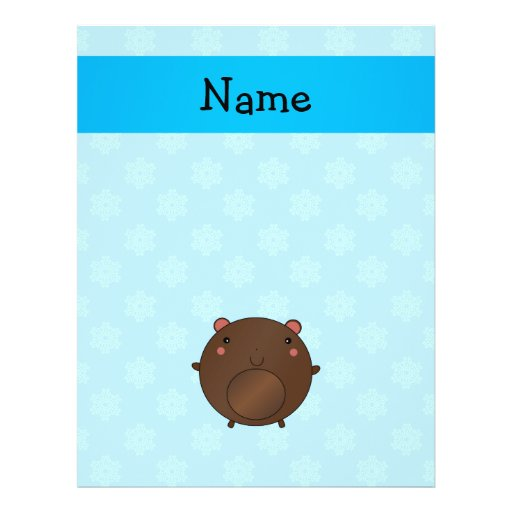 Personalized name bear blue snowflakes full color flyer