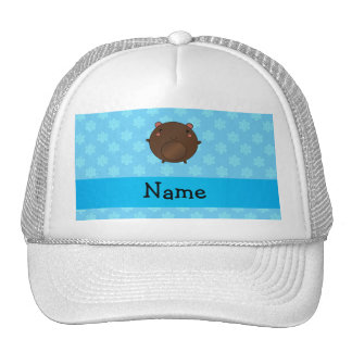 Personalized name bear blue snowflakes hat