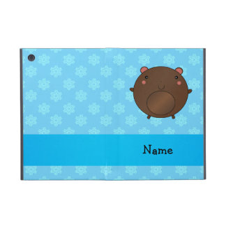Personalized name bear blue snowflakes iPad mini case