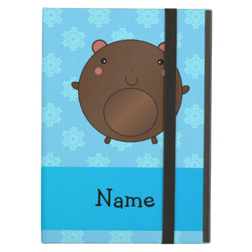 Personalized name bear blue snowflakes iPad cases