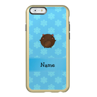 Personalized name bear blue snowflakes incipio feather® shine iPhone 6 case