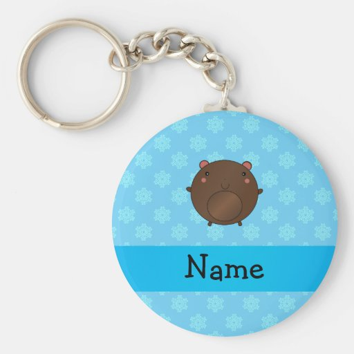 Personalized name bear blue snowflakes key chains