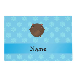 Personalized name bear blue snowflakes laminated place mat