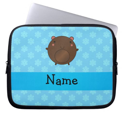 Personalized name bear blue snowflakes laptop sleeves
