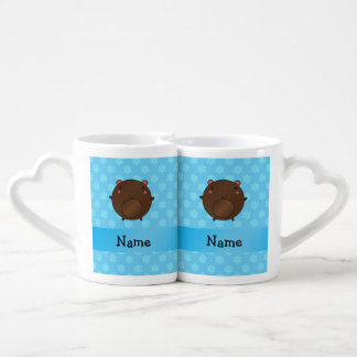 Personalized name bear blue snowflakes lovers mugs