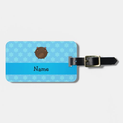 Personalized name bear blue snowflakes tag for luggage