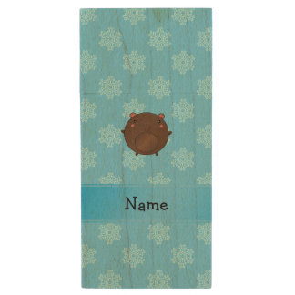 Personalized name bear blue snowflakes wood USB 2.0 flash drive
