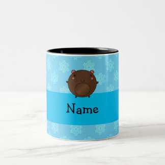 Personalized name bear blue snowflakes mugs