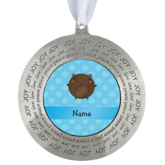 Personalized name bear blue snowflakes round pewter ornament