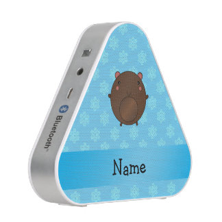 Personalized name bear blue snowflakes speaker
