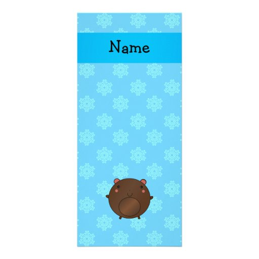 Personalized name bear blue snowflakes rack card design