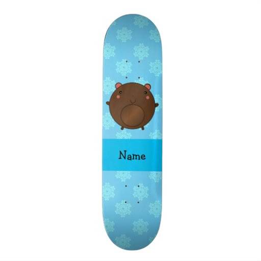 Personalized name bear blue snowflakes skate board deck