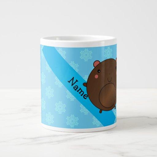 Personalized name bear blue snowflakes jumbo mug