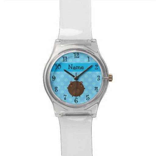 Personalized name bear blue snowflakes wristwatches