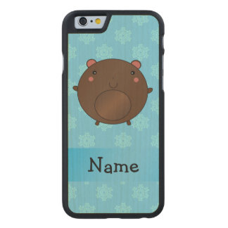 Personalized name bear blue snowflakes carved® maple iPhone 6 case