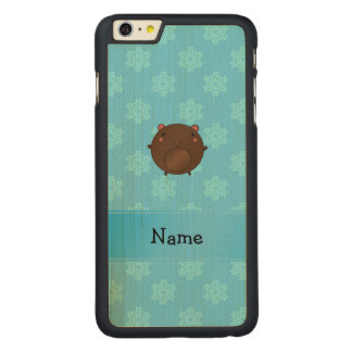 Personalized name bear blue snowflakes carved® maple iPhone 6 plus slim case