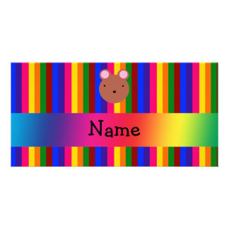 Personalized name bear face rainbow stripes photo cards