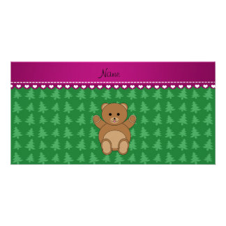 Personalized name bear green christmas trees photo greeting card