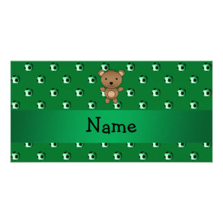 Personalized name bear green soccer balls personalized photo card