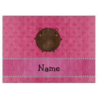 Personalized name bear pink hearts cutting boards