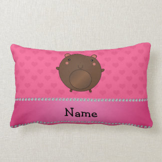 Personalized name bear pink hearts throw pillow