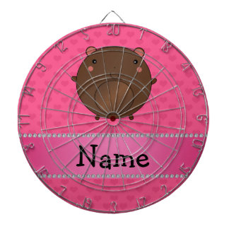 Personalized name bear pink hearts dartboard with darts