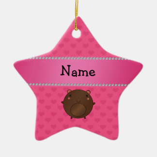 Personalized name bear pink hearts christmas tree ornaments
