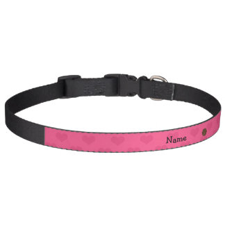 Personalized name bear pink hearts pet collar