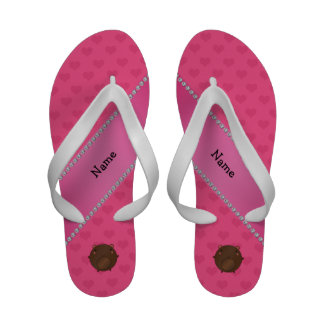 Personalized name bear pink hearts Flip-Flops