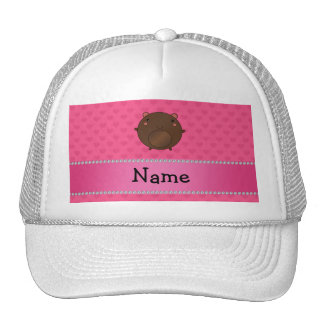Personalized name bear pink hearts mesh hats