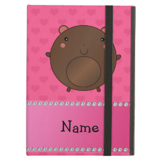 Personalized name bear pink hearts iPad covers